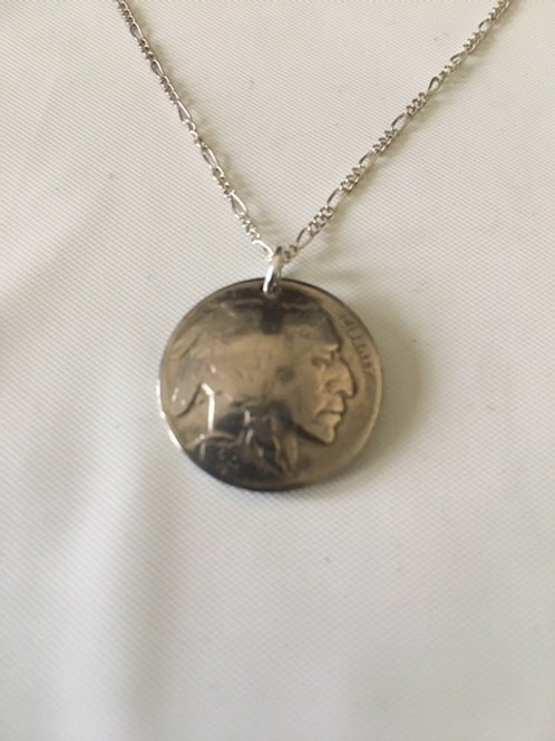 MS25 Sterling Silver Chain with Buffalo Nickle Pendant Necklace