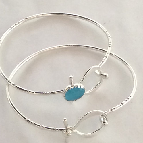 BS32 STERLING SILVER TURQUOISE CATS EYE STONE BRACELET