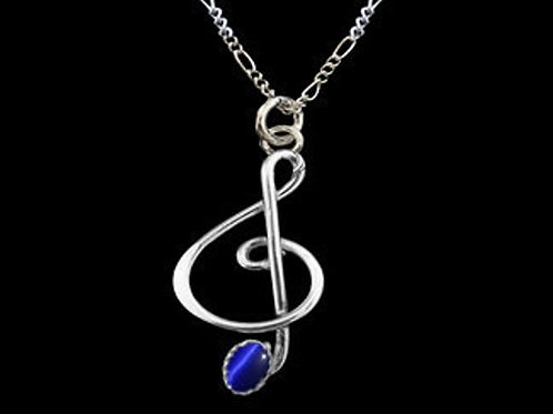 NS2 Music Note Pendant 925 Sterling Silver Jewelry with Blue Stone and 18 inch