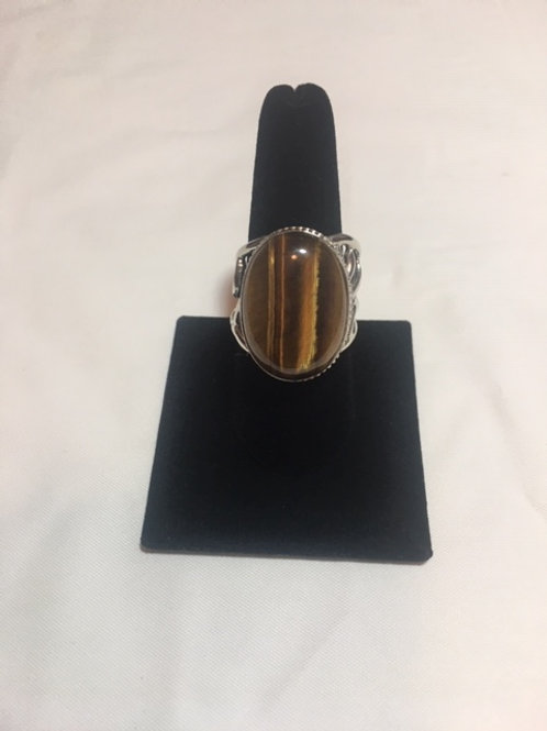 RS76 Tiger Eye Stone Sterling Silver Ring