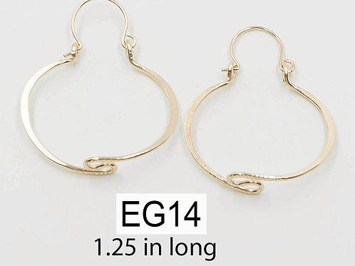 EG14 14 K Gold Filled Wire 1.25 inch Barrel Zig Zag Earrings