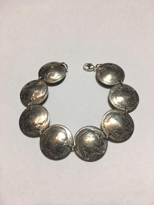 MS11 Vintage Soldered Coin Bracelet Link - Buffalo Head Nickle