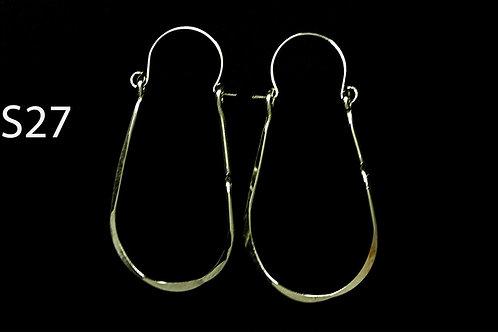 ES27 Sterling Silver 2 inch Long Tear Drop Zig Zag Earrings