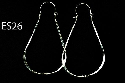 ES26 Sterling Silver 2.5 inch Long Tear Drop Zig Zag Earrings