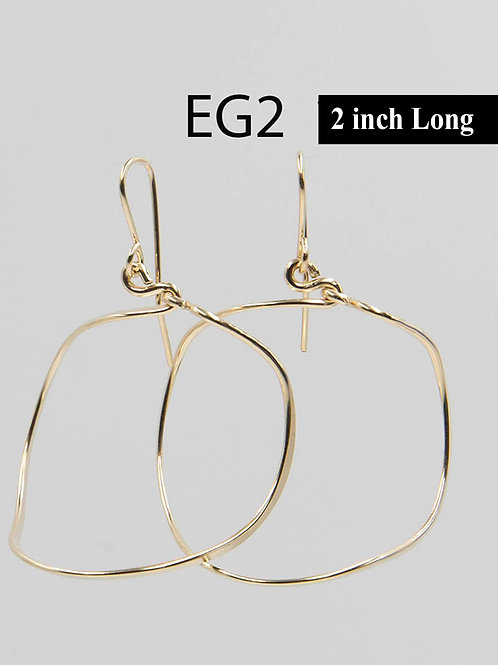 EG2 14 K Gold Filled Wire 2 inch Barrel Earrings