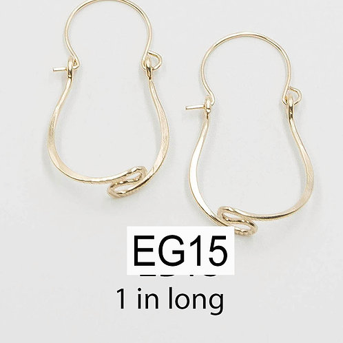 EG15 14 K Gold Filled Wire 1 inch Tear Drop Zig Zag Earrings