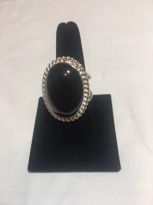 RS60 Black Onyx Stone Sterling Silver Ring