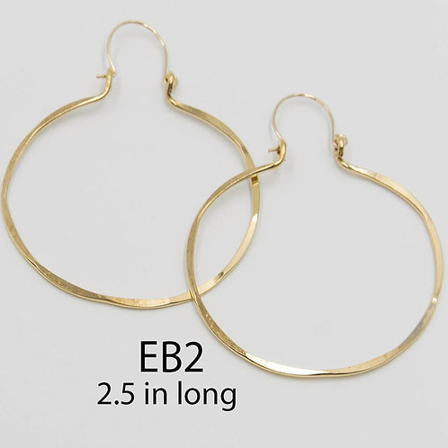 EB2 100% Brass Wire Barrel  2.5 inch Long Earring