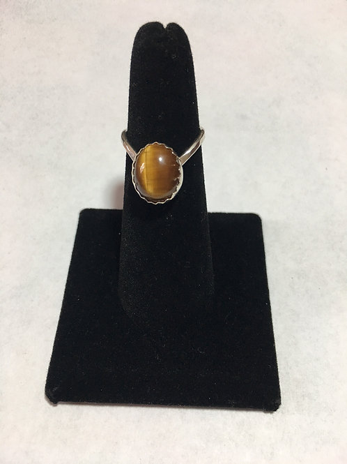 RS21 STERLING TIGERS EYE RING (6 x 4) Stone (vring)