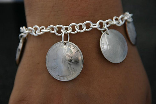 MS2 SOLDERED STERLING SILVER  LINKS CHARM BRACELET