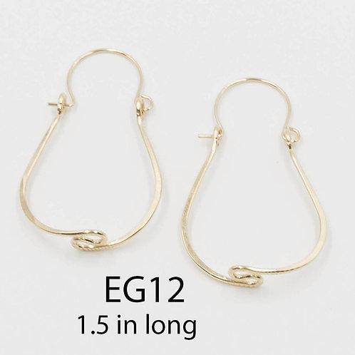 EG12 14 K Gold Filled Wire 1.5 inch Tear Drop Zig Zag Earrings