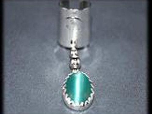 EARC4 Boho Chic Ear Cuff Sterling Silver with Turquoise Cats-eye Stone