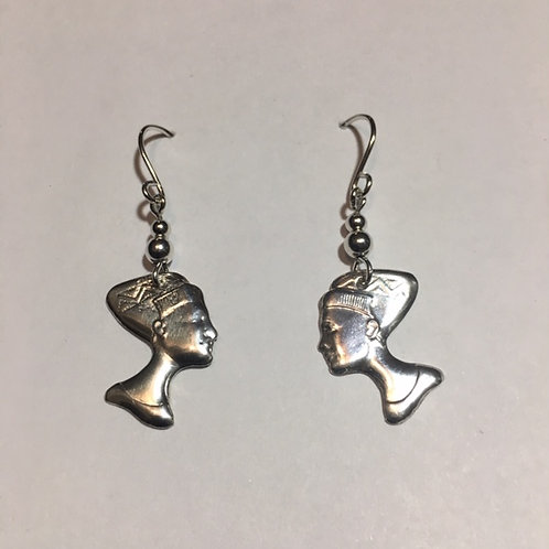 ES40 Sterling Silver Afrocentric Earrings Queen Nefertiti  1.75inch
