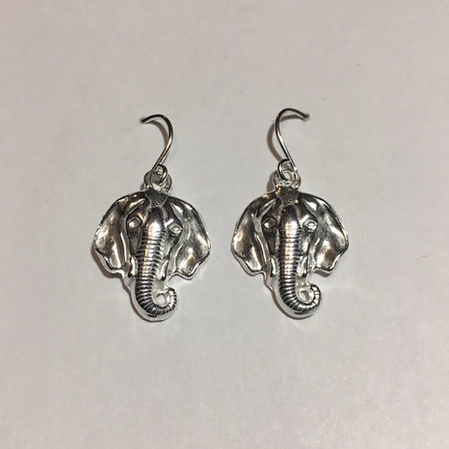 ES41 Sterling Silver Elephant Earrings 1.25 inches