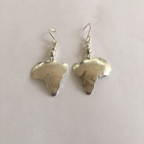 ES36 Sterling Silver Earrings Map of Africa Afrocentric Jewelry