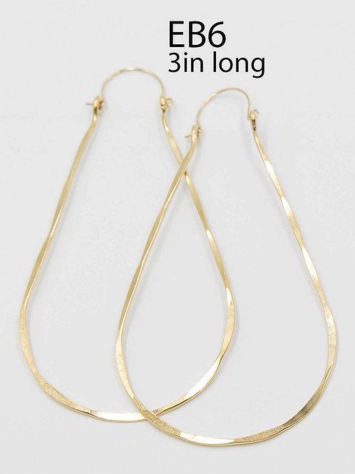 EB6 100% Brass Wire Tear Drop 3 inch Long Earring