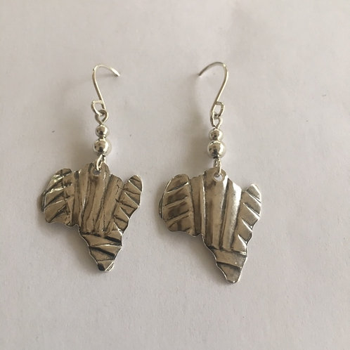 ES42 Sterling Silver Earrings Map of Africa Afrocentric Jewelry with waves