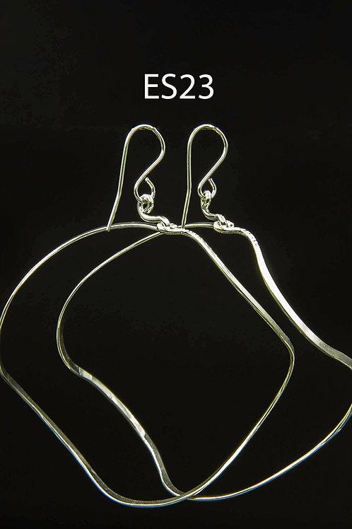 ES23 Sterling Silver 2.5 inch Long Wire Zig Zag Hoop Earrings