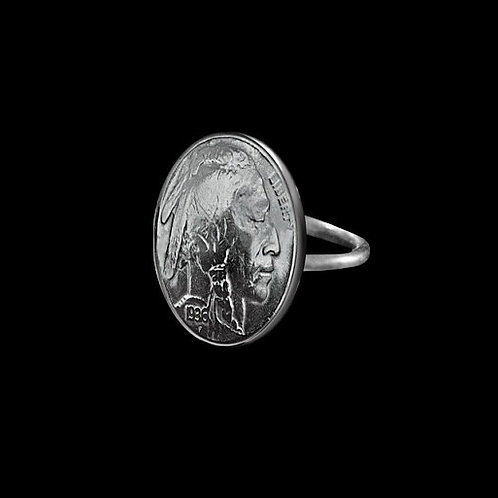 MS6 Coin Ring Vintage Buffalo Nickle Sterling Silver Band