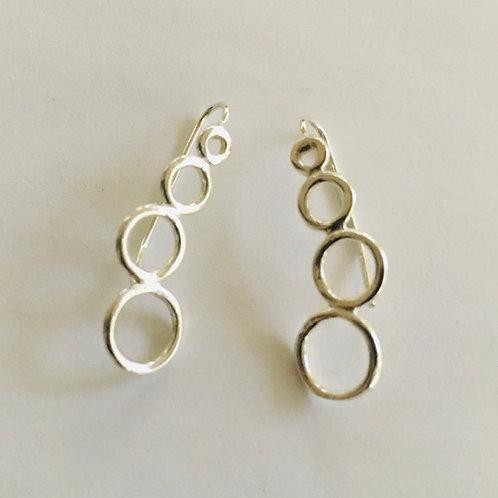 EARP8 4 Circled inward Ear Pin Earrings (Silver,Copper,Brass)