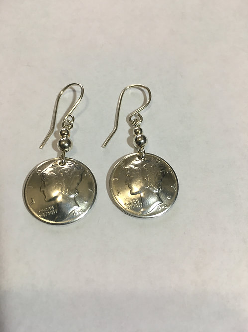 MS15 COIN STERLING SILVER LIBERTY DIME W/BEADS Earrings