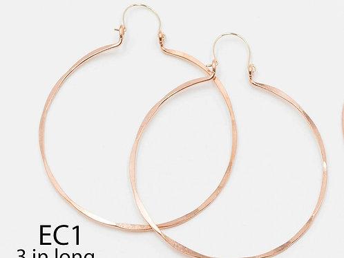 EC1 100% Copper Wire Barrel 3 inch Long Earrings