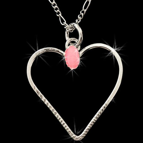 NS3 Sterling Silver Pendant with pink stone