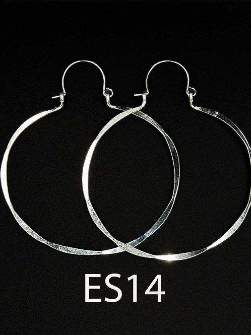 ES14 Sterling  Silver 2 inch Long Wire Barrel Earrings