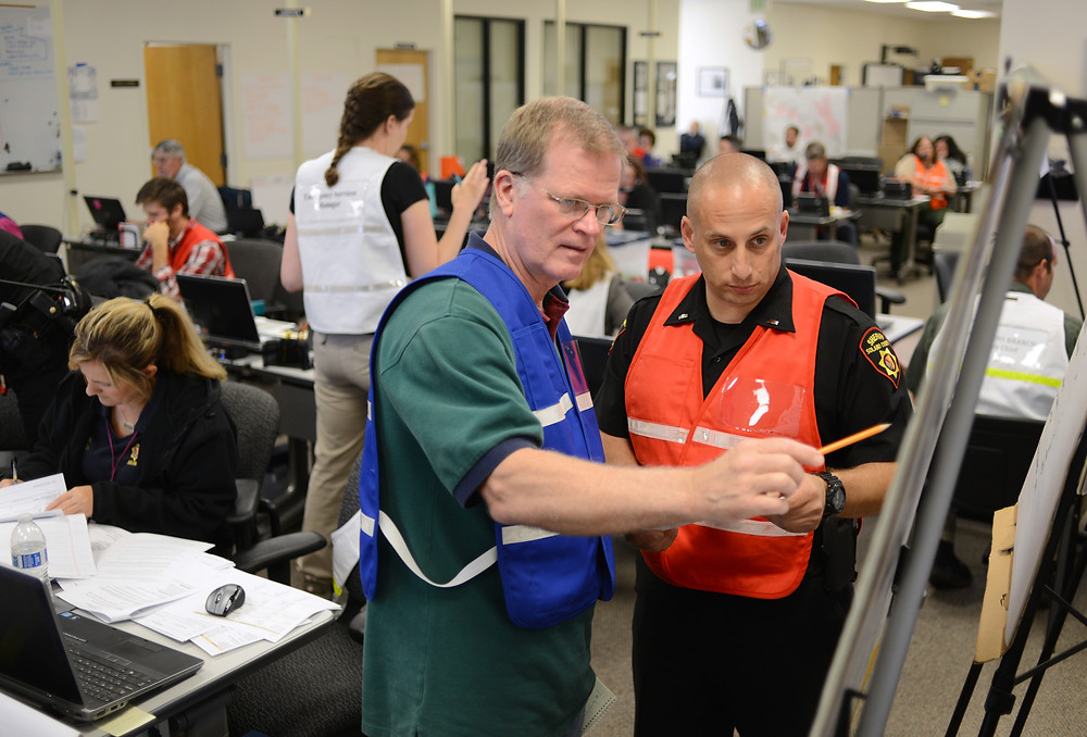 Solano County staff members work in the county's emergency operations center
