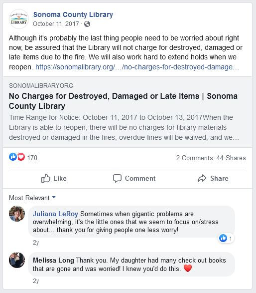Sonoma County Library Facebook post
