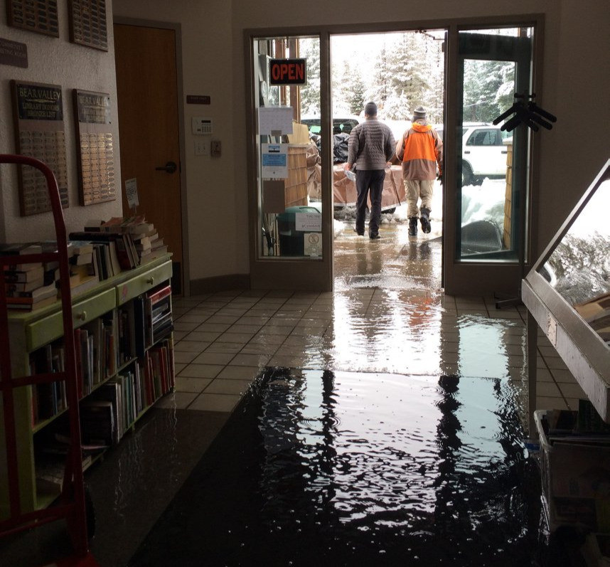 A major snowstorm caused extensive flooding at the Alpine County Library's Bear Valley branch.