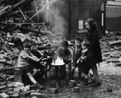children in the blitz out playing
