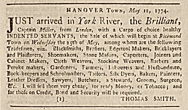 Indentured Servant Advertisement