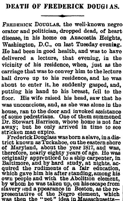 Frederick Douglass Obituary