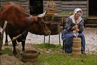 colonial churning butter
