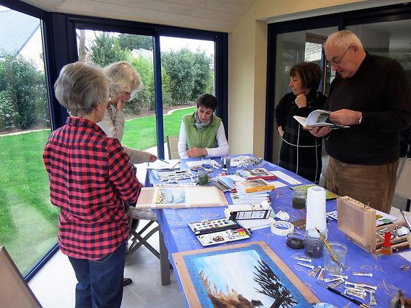 Elèves travaillant à la réalisation de leur aquarelle
