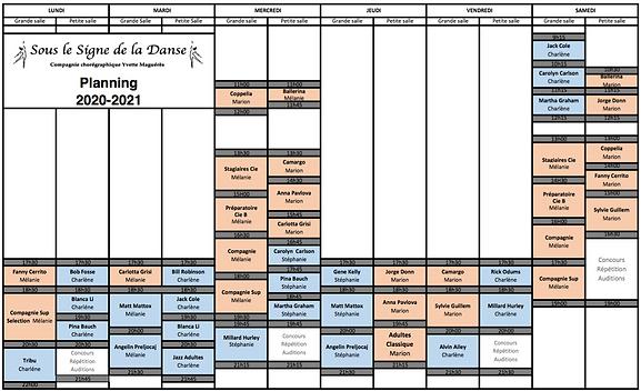 Danse Brest Planning de cours souslesigndeladanse 2020-2021