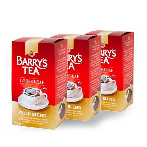 Barrys Tea Gold Blend Loose Tea 250g (3 Pack)