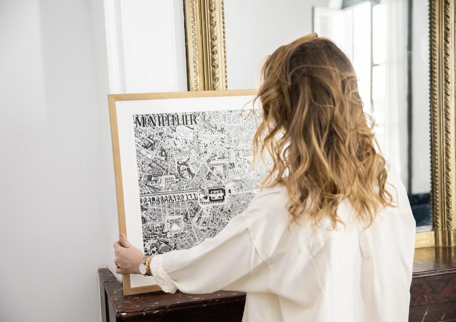 SarahDelanchy-carteMontpellier-tableauMontpellier-encadré
