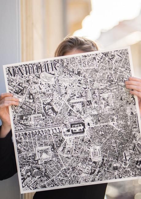 SarahDelanchy-carteMontpellier-sérigraphie-artisannale-dessinNoir&Blanc-Illustration