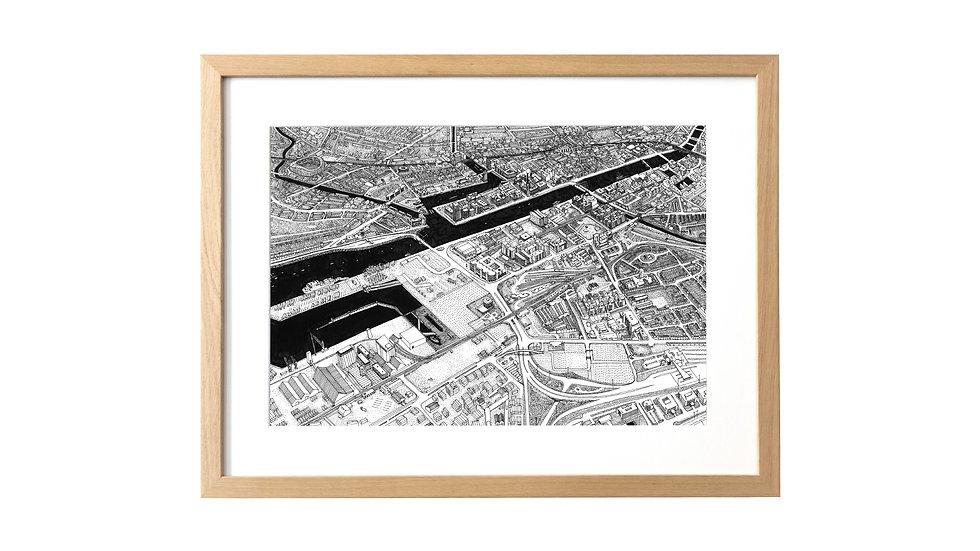 DUBLIN VUE AÉRIENNE TIRAGE FINE ART FORMAT 42x29.7cm
