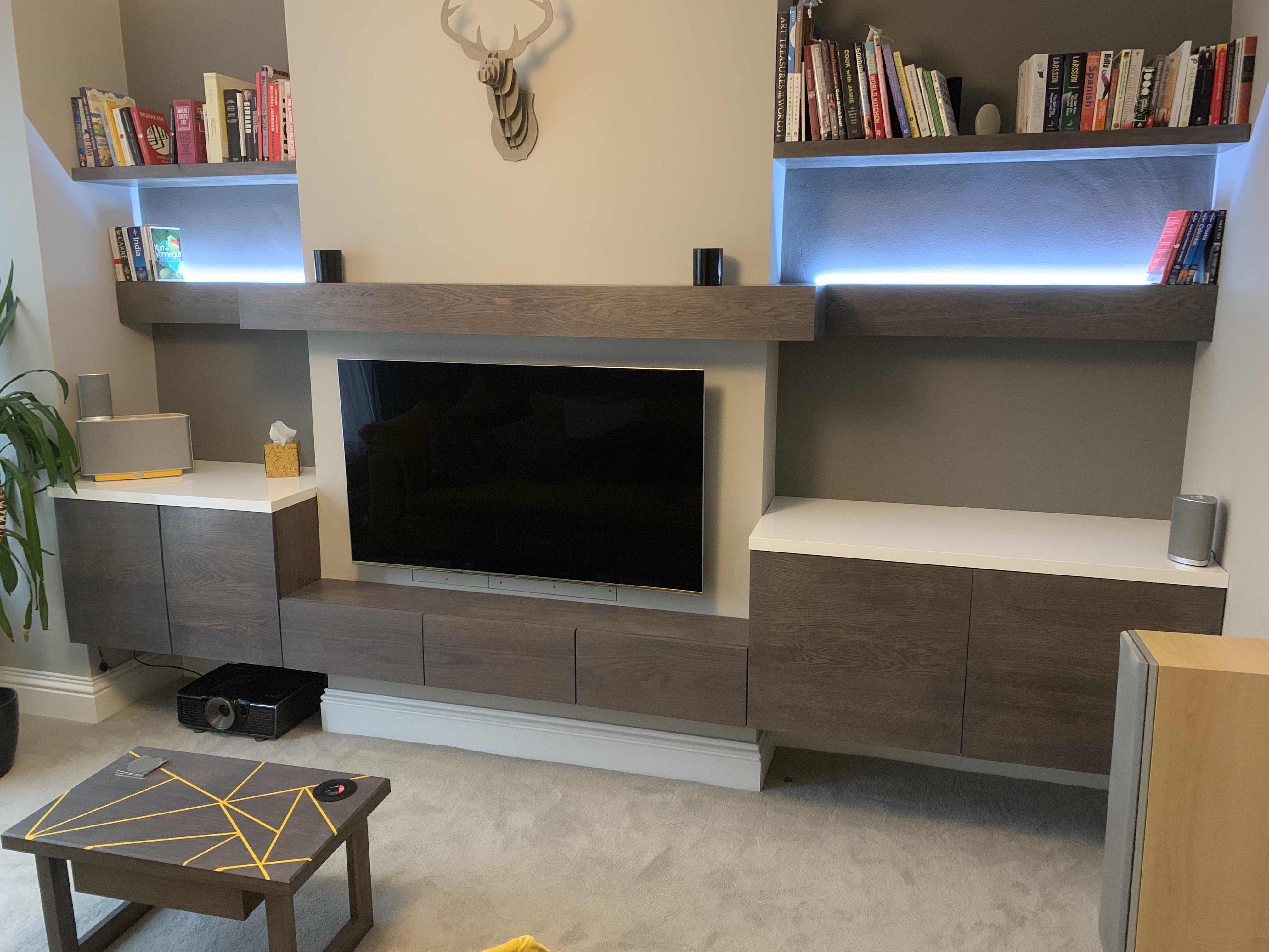 Custom oak living room and table
