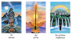 Vision Quest Tarot Hermit, Ace of Fire,