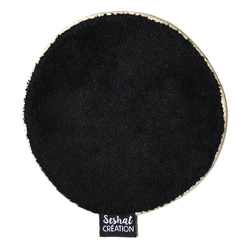 Grande lingette lavable ronde double face, noire, à l'unité
