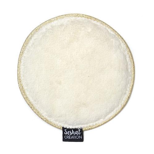 Grande lingette lavable ronde double face, blanc cassé, à l'unité