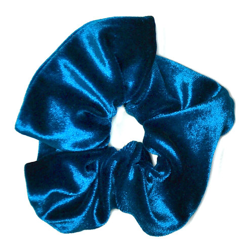 Chouchou Velours, bleu canard