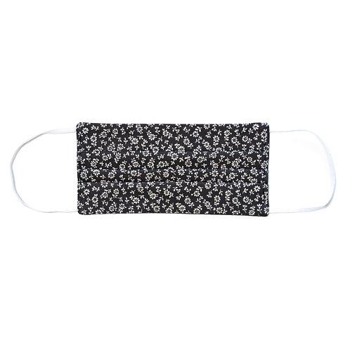Masque de protection en tissu, réutilisable, modèle Fleurs d'automne, noir