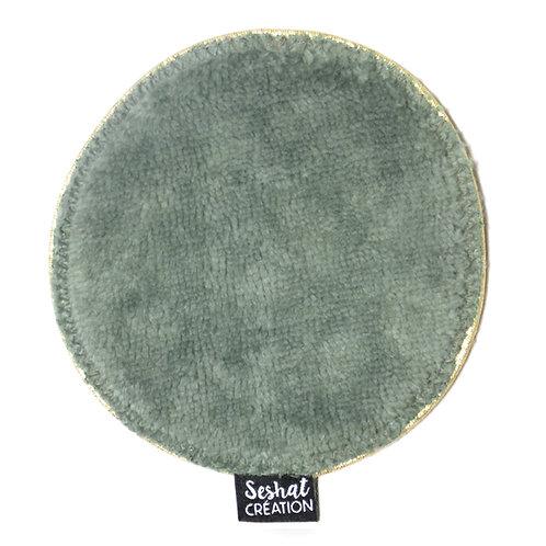 Grande lingette lavable ronde double face, vert eucalyptus, à l'unité