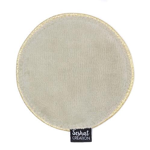 Grande lingette lavable ronde double face, beige, à l'unité