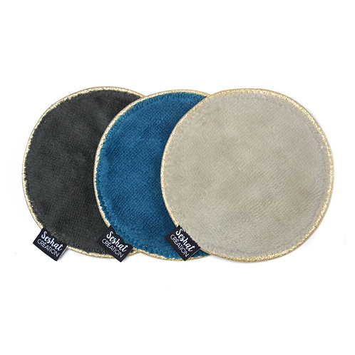 Lot de 3 grandes lingettes lavables rondes double face, assortiment n°7